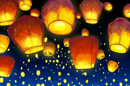 Floating lanterns in night sky