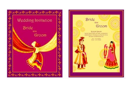 Foto de vector illustration of Indian wedding invitation card - Imagen libre de derechos