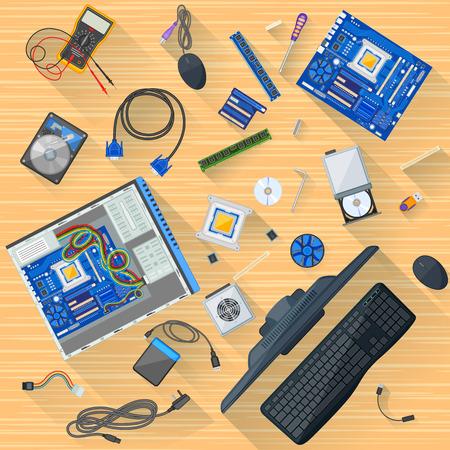 Working table of computer mechanic