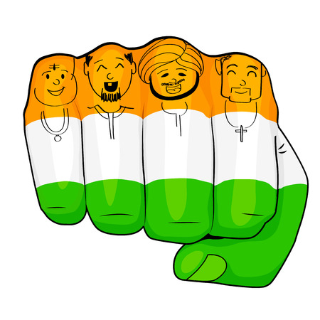 illustration of Indian people of different culture standing together, Unity in Diversity