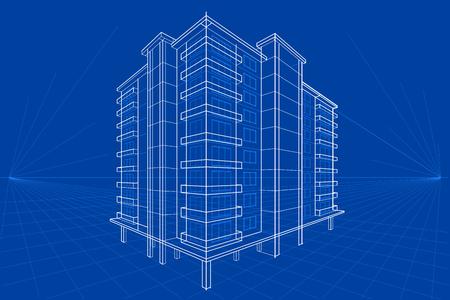 Foto de easy to edit vector illustration of blueprint of building - Imagen libre de derechos