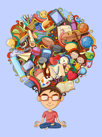 Illustration pour vector illustration of dream and thought of student - image libre de droit