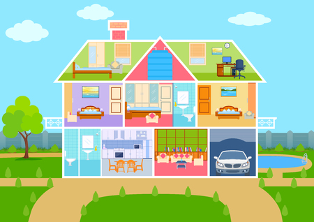 Illustration pour illustration of House in cut view with detailed interior and furniture - image libre de droit