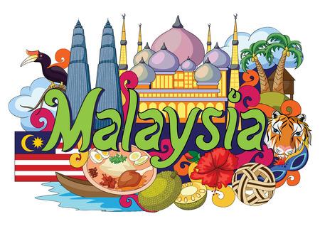 Illustration pour vector illustration of Doodle showing Architecture and Culture of Malaysia - image libre de droit