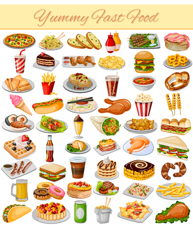 vector illustration of Yummy Fast Food Collectionのイラスト素材