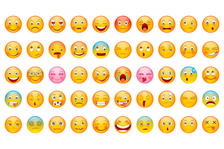 vector illustration of Glossy Emoticon Collection with different expression smileyのイラスト素材
