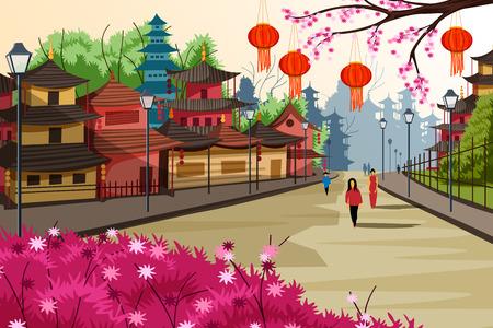 Illustration pour Hanging lantern decorated city of China - image libre de droit