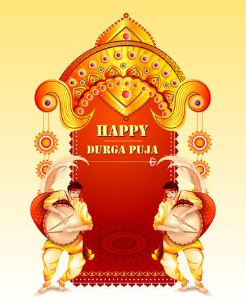 Illustration pour Happy Durga Puja festival background for India holiday Dussehra - image libre de droit