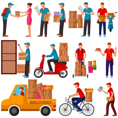 Ilustración de Courier , Delivery, Parcel man delivering product to home - Imagen libre de derechos