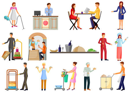 Illustration pour Hotel and Restaurant service industry staff, chef, waiter and reciptionist - image libre de droit