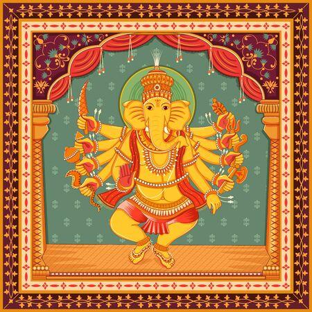 Illustration pour Vector design of statue of Indian Lord Ganesha with vintage floral frame - image libre de droit