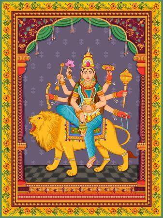 Illustration pour Design of statue of Indian Goddess Kushmanda one of avatar from Navadurga with vintage floral frame - image libre de droit