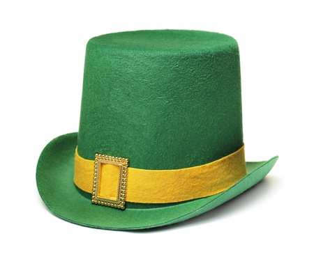 Cheap and cheerful st. patrick's day carnival hat isolated on white with natural shadow.