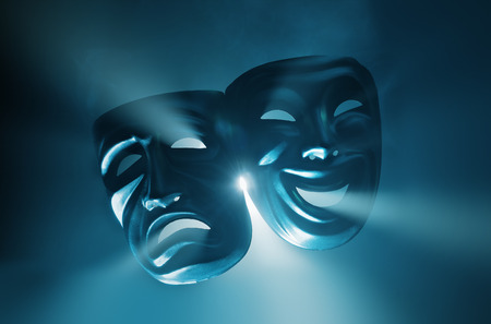 Photo for Crying and smiling masks in hazy light. - Royalty Free Image