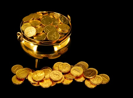 Pot of Gold Coins a symbol of The Luck of the Irish or St Patrick