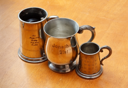personalised engraved silver tankard or goblet, a keepsake given as a gift to celebrate birthdays and anniversaries