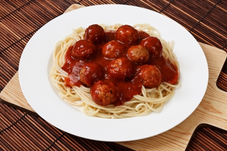 Spaghetti with Meatballs in a bolognese sauce a western adaptation from traditional italian cooking