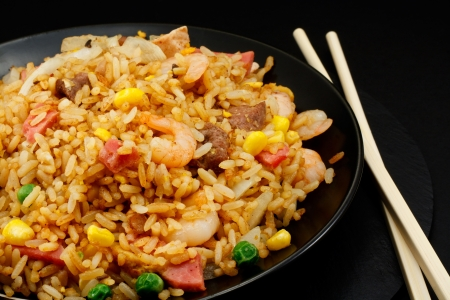 A plate of oriental food Special fried rice の写真素材