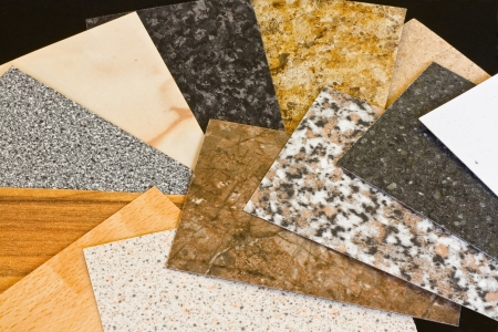 Kitchen worktop samples showing a variety of textured finishes available