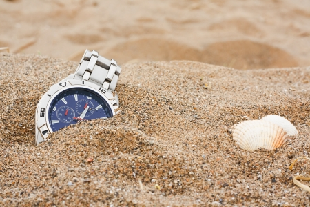 wristwatch left discarded at the beach great for lost property or travel insurance