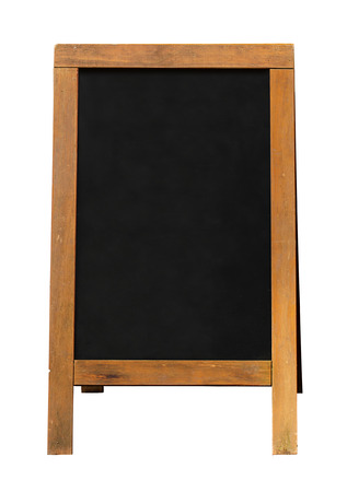 Blackboard mounted in an A Frame signboard also known as a sandwich board with chalkboard area blank for insertion of your own custom message