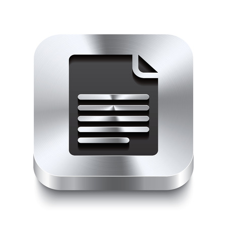 Realistic 3d vector illustration of a square metal button with a page curl icon  This brushed steel button is the perfect switch for navigation in any user interface