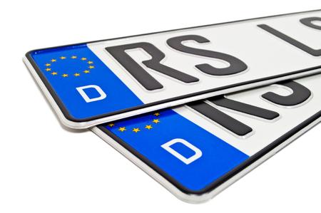 Foto de German license plate with a purchase contract - Imagen libre de derechos