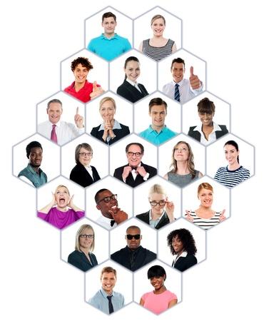 Foto de Happy smiling collage collection of multiracial group of people showing racial diversity - Imagen libre de derechos