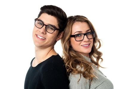 Photo pour Loving couple leaning against each other - image libre de droit