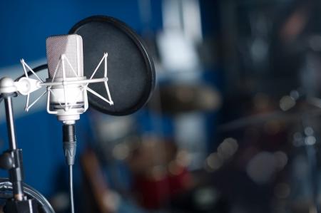 Condenser microphone, recording studio shot
