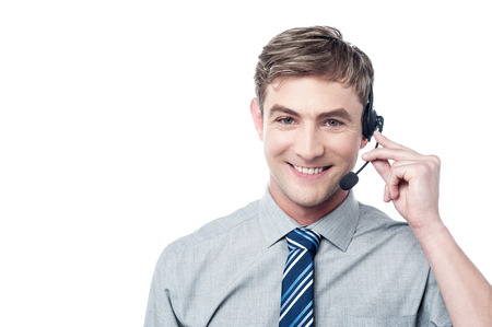 Photo for Happy young male customer support executive - Royalty Free Image