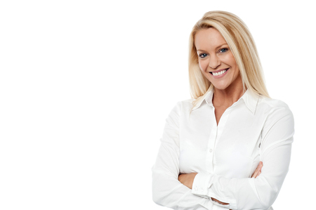 Photo for Professional woman posing over white with arms crossed - Royalty Free Image