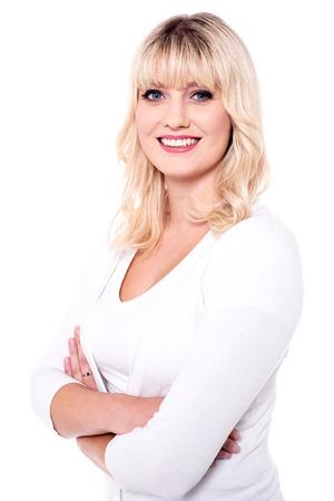 Portrait of happy smiling woman in trendy wear.