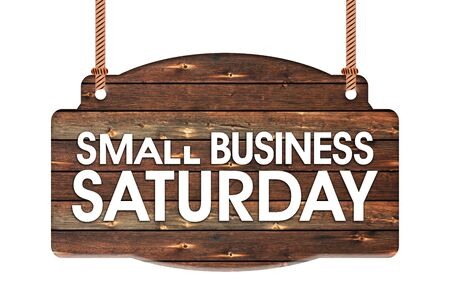 Photo pour Text of Small Business Saturday in Rope wooden hanging sign - image libre de droit