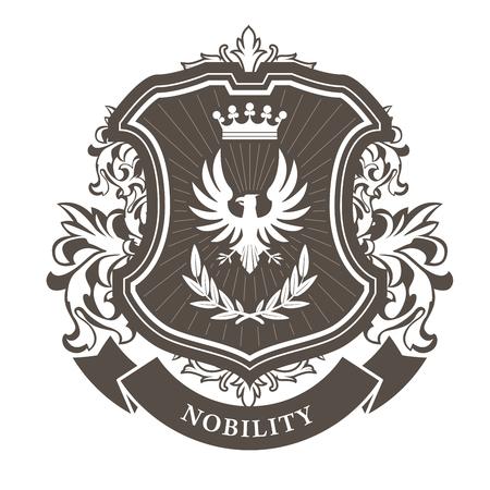 Ilustración de Monarchy coat of arms - heraldic royal emblem shield with crown and laurel wreath - Imagen libre de derechos