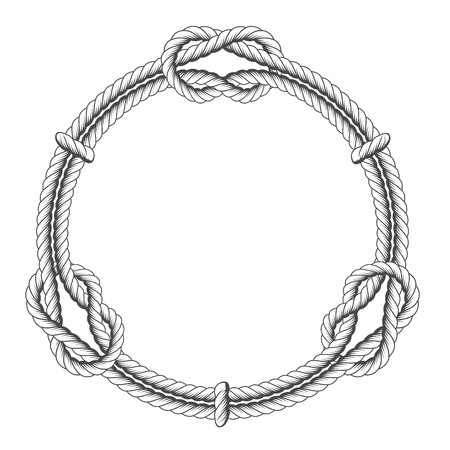 Illustration pour Twisted rope circle - round frame with knots - image libre de droit