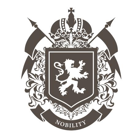Ilustración de Royal blazon - luxurious coat of arms with lion on shield and crown. - Imagen libre de derechos
