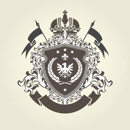 Ilustración de Royal coat of arms - heraldic blazon with crown and shield with eagle - Imagen libre de derechos