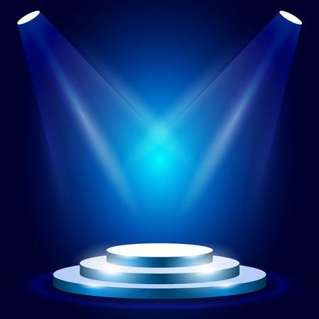 Illustration pour Stage or podium with spotlighting - award ceremony stage, blue podium scene - image libre de droit