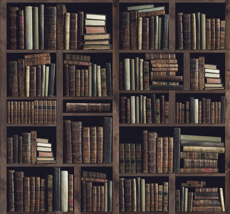 Photo for Collection of valuable ancient books on a wooden bookcase: knowledge, culture and education concept - Royalty Free Image