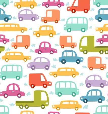 Cartoon cars seamless pattern