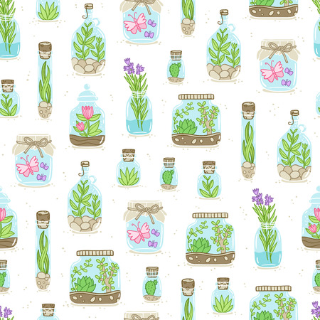Terrariums on white background, vector seamless pattern