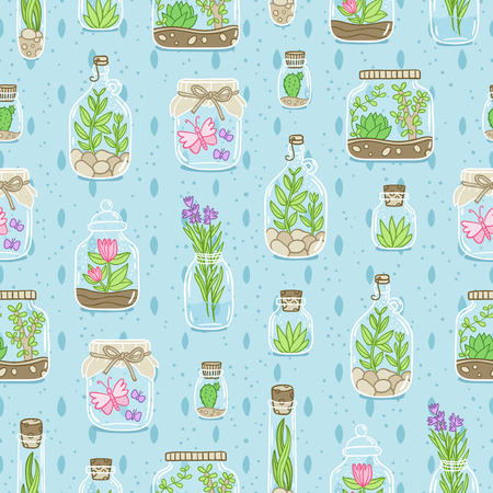 Terrariums on blue background, vector seamless pattern