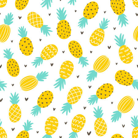 Illustration pour Pineapple and hearts seamless pattern background - image libre de droit