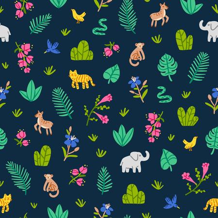 Ilustración de Jungle wildlife nature seamless pattern - Imagen libre de derechos