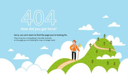 Illustration pour Error 404 page with a mountain, vector template - image libre de droit
