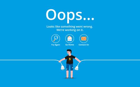 Illustration pour Oops 404 error page, vector template - image libre de droit