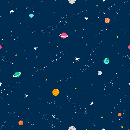 Illustration for Space seamless pattern, vector background - Royalty Free Image