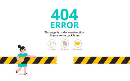 Illustration pour Under construction illustrated error web page template, vector illustration - image libre de droit