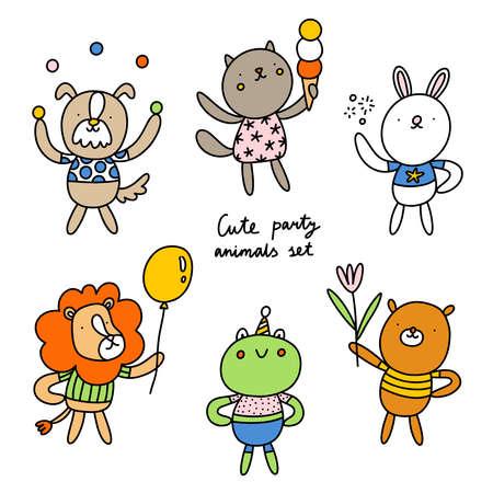 Photo pour Cute party animals illustration, dog, cat, bear, bunny rabbit, lion and frog, vector collection - image libre de droit